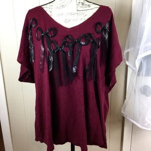 Lane Bryant Burgundy Bow Embellished V-Neck/Back T